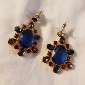 Blue, Red and Topaz Earrings